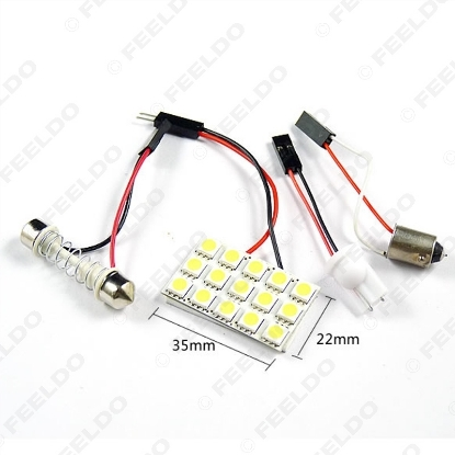 Picture of White 15SMD 5050 Chip Car LED Light with 3 adapters T10/BA9S/Festoon Dome light