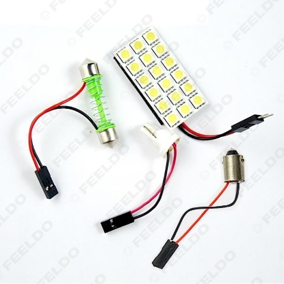 Picture of 1Set White 5050 3-Chips 18SMD Car LED Light Panel with T10/BA9S/Festoon Adapters Dome Bulb Lamp
