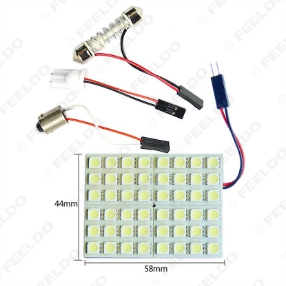 Picture of 1Set White 48SMD 5050 Chip Car LED Light with 3 Adapters T10/BA9S/Festoon Dome Bulbs