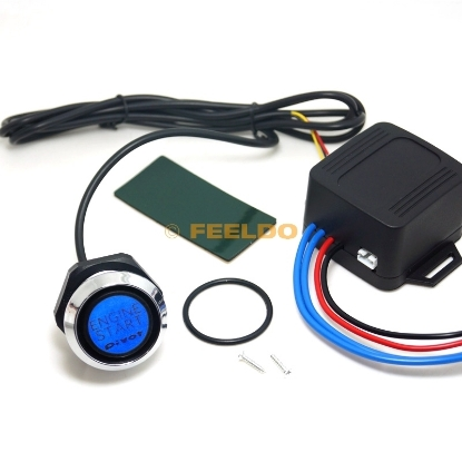 Picture of One-key Engine Start Button Switch Set For Car Auto Refitting With Blue Indicator Light