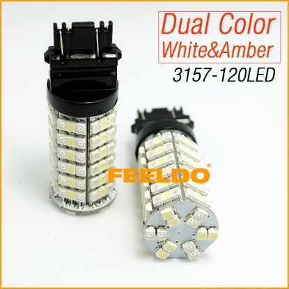 Picture of 1pcs T25/3157/3057/3457/4157 120SMD-1210 White/Amber Yellow Dual Color LED Turn Signal Light Bulbs
