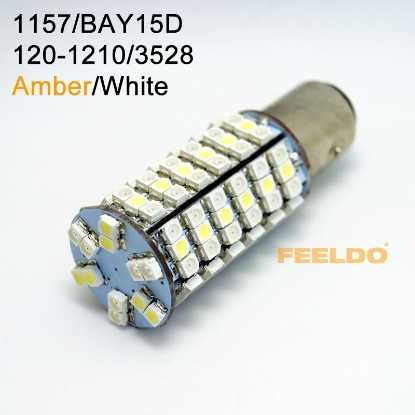 Picture of 1Pcs 1157/BAY15d 120SMD-1210/3528 White/Amber Yellow Dual Color LED Light Bulbs