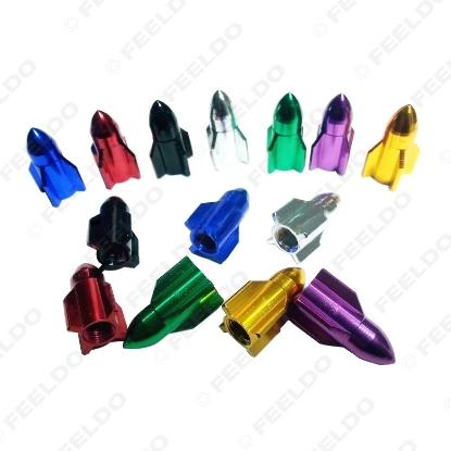 Picture of 1set Missile Models Color Aluminum Valve Caps Gas Leak Tire Caps For Car Decoration 7-Color