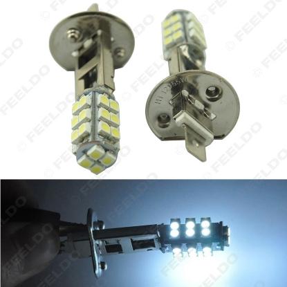 Picture of 1pcs White 12V Power H1 3528/1210 Chip 28SMD LED Fog Headlight Car Auto LED Light Bulb