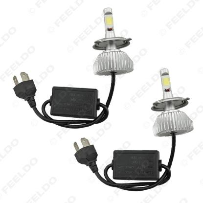 Picture of Super White H4 Hi/Lo 60W 6400LM Car COB LED Headlight Kit Fog Lamp Xenon Bulb 6000k