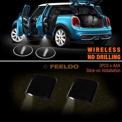 Picture of 1pair New Wireless No-Drilling Car Logo Door Projector Laser Welcome Ghost Shadow LED Light