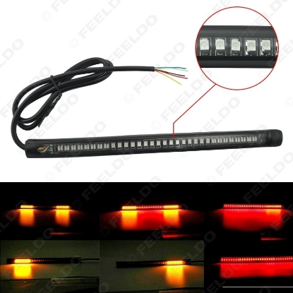 Picture of 1pcs Red and Amber Motorcycle Car 48LED LED Turn Signal Light Tail Brake Stop License Plate Lamp Rear Light