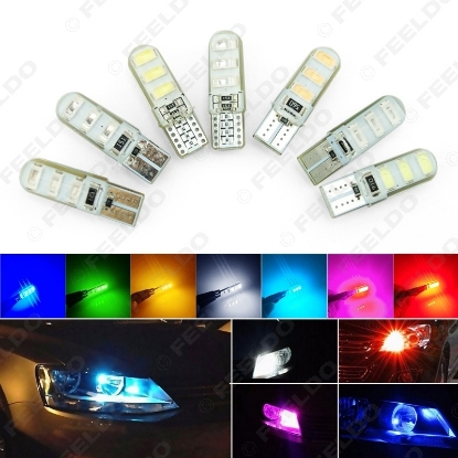 Picture of 1pcs Car T10 194 501 W5W 5730 6SMD Silicone LED Side License Plate Light Wedge Lamp 7-Color