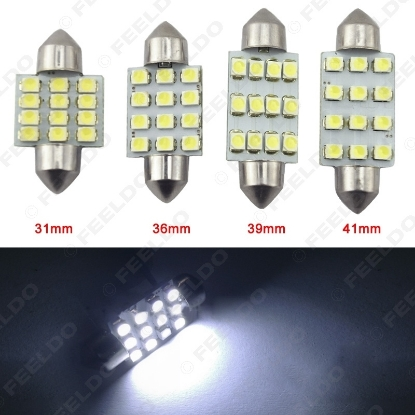 Picture of 2PCS White 1210 12SMD 31mm/36mm/39mm/41mm Car Festoon Dome Reading LED Light Bulbs
