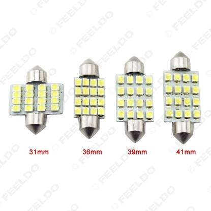 Picture of White Auto LED Bulbs 31mm 36mm 39mm 41mm 16-SMD 1210/3528 Chip Festoon Dome Map Cargo Car LED Light