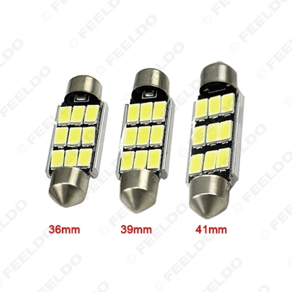 Picture of 1pcs White 36mm/39mm/41mm 5730 9-SMD Canbus NO-Error Car Festoon Dome Reading LED Lights