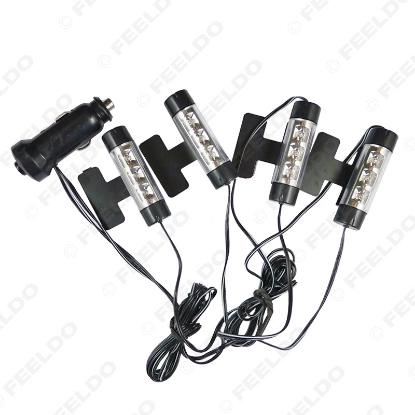 Picture of Blue 4x3LED Car Interior Light Charge 4in1 12V Glow Decorative Atmosphere Lamp Courtesy Light