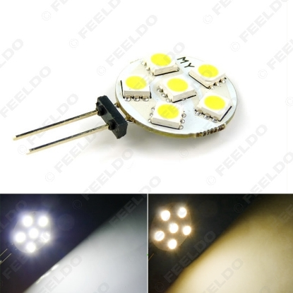 Picture of 1PC White/Warm White Car Home Boat G4 6SMD 5050 6LED Reading LED Light Cabinet Bright LED Bulb