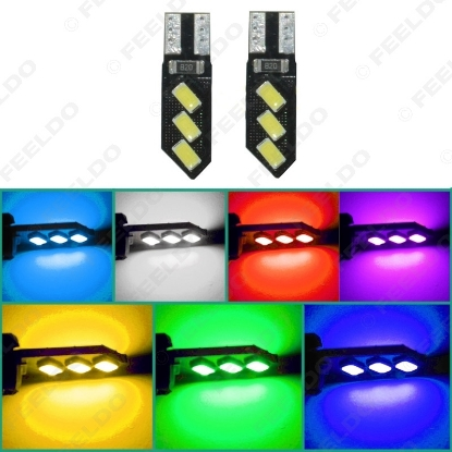 Picture of 1pcs DC12V T10 194 3W 6SMD 5630 Car LED Light Canbus No Error Free Lamp 7-Color