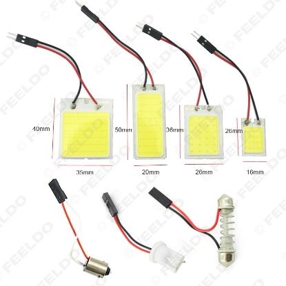 Picture of 1Set  White Car COB T10 BA9S Festoon Adapters Dome Panel Light 24LED/36LED/16LED/48LED Car LED Reading Light