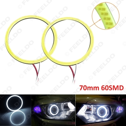 Picture of 1Pair White Auto Car DRL 70mm 60SMD LED Headlight COB 60LED Halo Ring Angel Eyes Warning Lamps