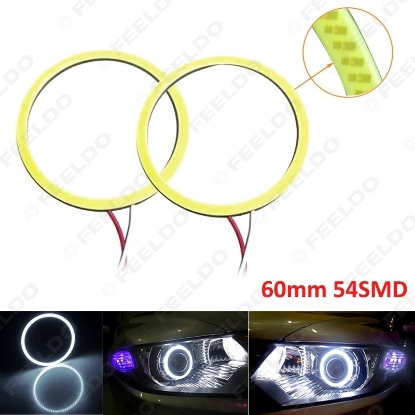 Picture of 1pair White Auto Car 60mm 54SMD LED Headlight COB 54LED Halo Ring Angel Eyes Warning Lamps