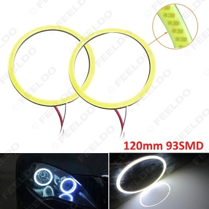 Picture of 1pair White Car DRL 120mm 93SMD LED Headlight COB 93LED Auto LED Halo Ring Angel Eyes Warning Lamps