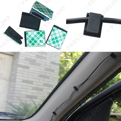 Picture of Rectangle Self Adhesive Wire Cable Mount Tachograph solid clip Drop Wire Holder to fix Car Charger Cable Clamp
