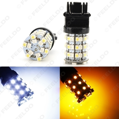 Picture of 1pcs T20/T25 3157 60SMD 1210 Yellow/White Color Dual Switchback Car LED Brake Turn Light