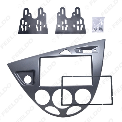 Picture of Silver Car 2DIN Stereo Panel Fascia Radio Refitting Dash Trim Kit For Ford Focus 98~04(LHD)/Fiesta 95~01(LHD)