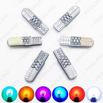 Picture of 1pcs Car T10 194 168 W5W 3014 Chip 24SMD Silica Car LED Door License LED Light Bulb Wedge Light 6-Color