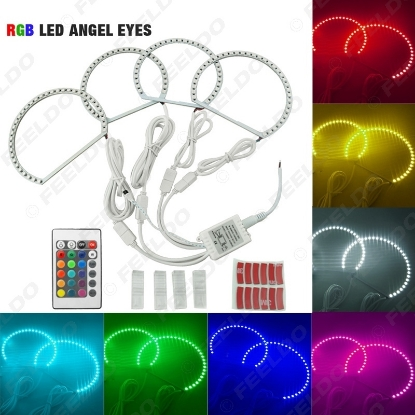 Picture of 1Set Car 5050SMD LED RGB Flash Angel Eyes Halo Ring Light for BMW E46 3 Series Non Projector