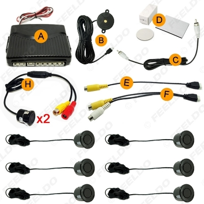 Picture of Car 6 Sensors Parking Sensor with 2pcs CCD Camera Dual Visual Rearview Video Parking Backup Radar System