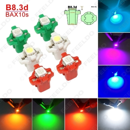 Picture of 1pcs Car 12V B8.3d/BAX10s 1SMD 5050 Gauge Dashboard LED Light Interior Lamp 7-color