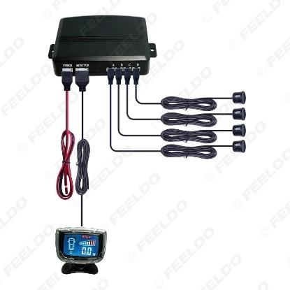 Picture of Waterproof Car Colorful Reversing Aid LCD Display 4-Sensor Reverse Backup Parking Sensor Radar Sysytem
