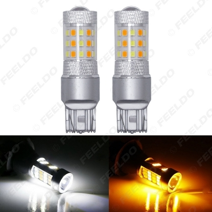 Picture of 1pcs Xenon White/Amber No Hyper Flash 7443 2835 Chip 42SMD Switchback LED Bulbs For Front Turn Signal Lights