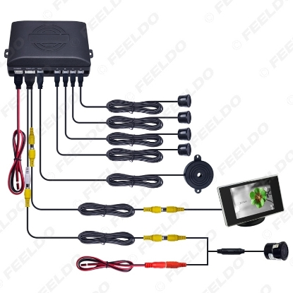Picture of Car 4-sensor Rearview Parking Sensor Reversing System With 3.5inch Monitor and 18.5mm Camera