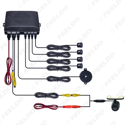 Picture of Car 4-sensor Rearview Parking Sensor Reversing Aid System With 16.5mm External Mounting Camera