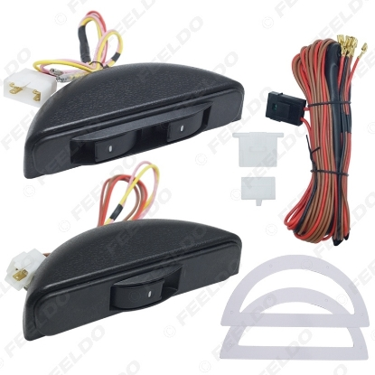 Picture of New Universal Crescent Style Power Window 3pcs switches with Holder & wire Harness