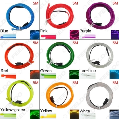Picture of 5M 9-color Flexible Moulding EL Neon Glow Lighting Rope Strip With Fin For Car Decoration