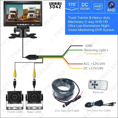Picture of 7inch Truck Tractor Heavy-duty Machinery 2-Way AHD Ultra Low Illumination Night Vision Monitoring DVR Video System