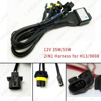 Picture of 12V 35W/55W 2in1 Wire H13/9008 Hi/Lo Beam Bi-xenon Relay Harness For HID Conversion Kit