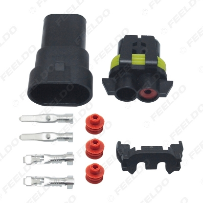 Picture of Car Motorcycle HB4/9006 Bulb Waterproof Quick Adapter Connector Terminals DIY Plug Male/Female Kit