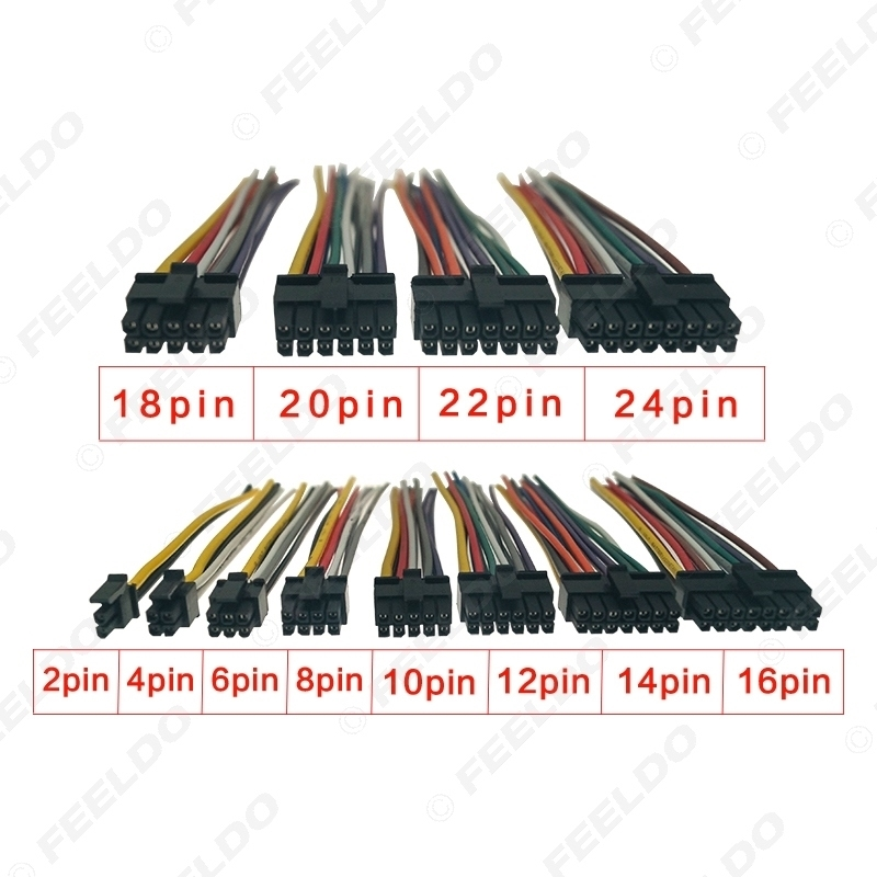 Picture of 1PC Black Universal Car Wire Harness Connector 4Pin-24Pin Head Into Car DVD CD Radio Stereo Wire Plug Adapter
